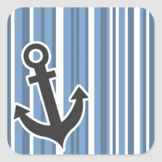 Ancla náutica; Rayas Azul-Grises; Rayado Pegatina Cuadrada