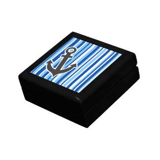 Ancla náutica; Rayas azules y blancas Caja De Joyas