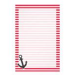 Ancla náutica; Rayas del rojo del cadmio; Rayado Papelería Personalizada