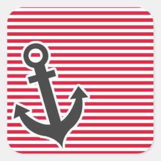 Ancla náutica; Rayas del rojo del cadmio; Rayado Pegatina Cuadrada