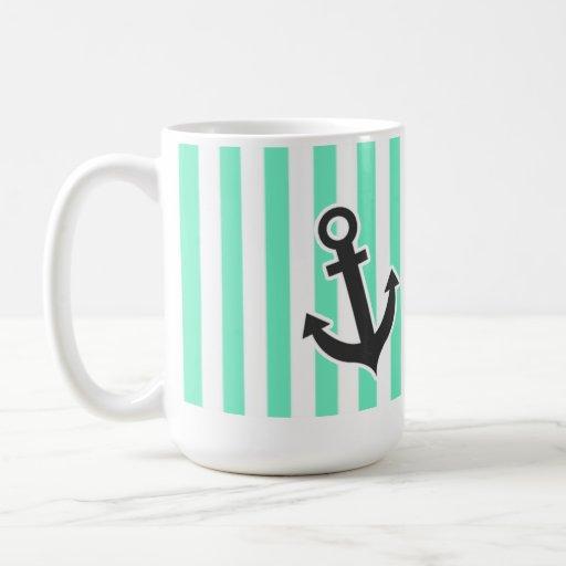 Ancla náutica; Rayas verdes de Seafoam del Aquamar Tazas De Café