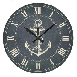 Ancla náutica reloj redondo grande