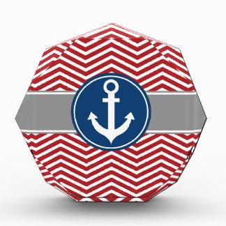 Ancla náutica roja Chevron