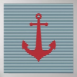 Ancla náutica roja en fondo azul rayado poster