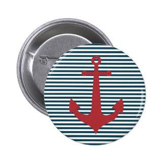 Ancla náutica roja en fondo azul rayado pin
