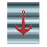 Ancla náutica roja en fondo azul rayado postal