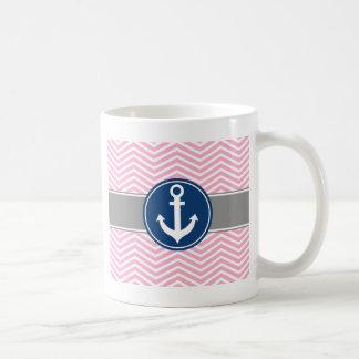 Ancla náutica rosada Chevron Taza De Café