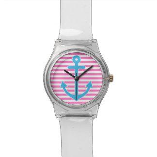 Ancla náutica rosada reloj