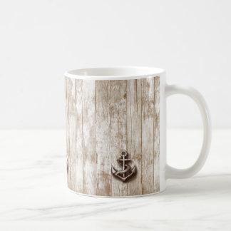 Ancla náutica rústica del vintage de moda taza