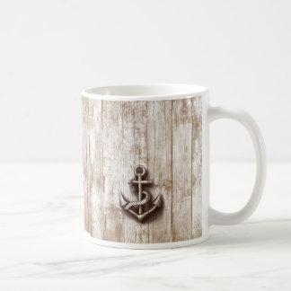 Ancla náutica rústica del vintage de moda taza clásica