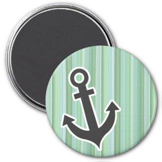 Ancla náutica Seafoam, verde salvia, y azules ciel Imán Redondo 7 Cm