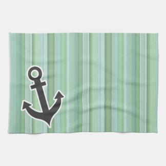 Ancla náutica Seafoam verde salvia y azules ciel Toalla De Mano