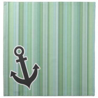 Ancla náutica Seafoam, verde salvia, y azules ciel Servilletas