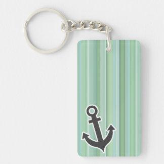 Ancla náutica Seafoam, verde salvia, y azules Llavero Rectangular Acrílico A Doble Cara