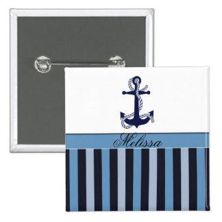 Ancla náutica y rayas azules pin cuadrada 5 cm