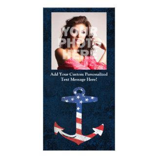 Ancla patriótica los E.E.U.U. náuticos de la bande Tarjetas Fotograficas Personalizadas