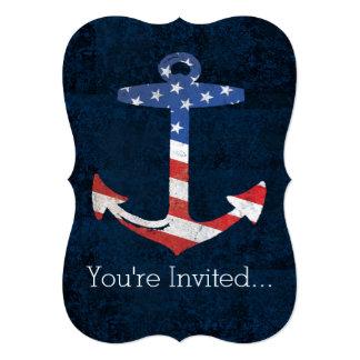 """Ancla patriótica los E.E.U.U. náuticos de la Invitación 5"""" X 7"""""""