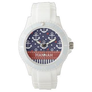 Ancla personalizada de los azules marinos y del reloj de mano