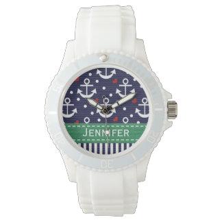 Ancla personalizada de los azules marinos y del relojes de pulsera