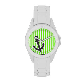 Ancla; Rayas verdes claras; Rayado Relojes De Mano