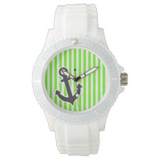 Ancla; Rayas verdes claras; Rayado Relojes De Pulsera