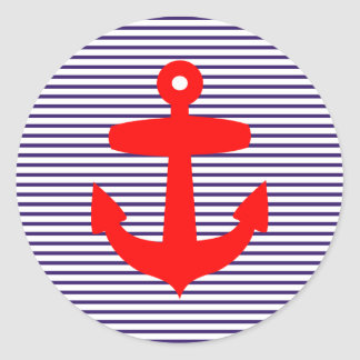 Ancla roja con las rayas azules del marinero pegatina redonda