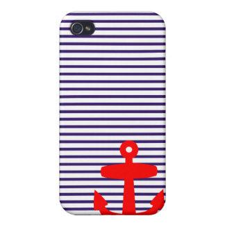 Ancla roja con las rayas bretonas azules iPhone 4 cobertura