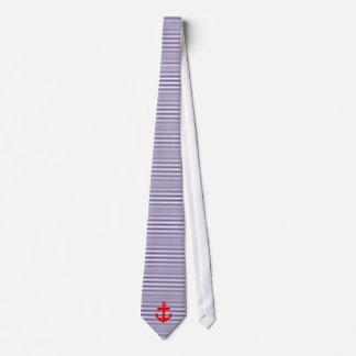Ancla roja con las rayas del bretón de los azules corbata
