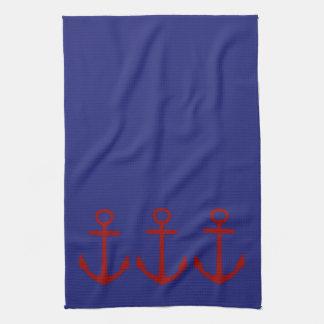 Ancla roja en náutico azul toallas de mano