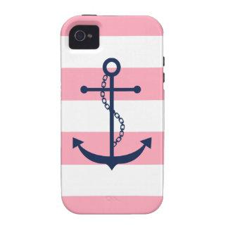 Ancla rosada blanca del modelo de las rayas azules iPhone 4 fundas