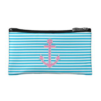 Ancla rosada de las rayas azules náutica