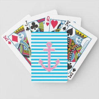 Ancla rosada de las rayas azules náutica baraja de cartas