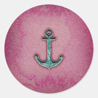 Ancla rosada de moda del corazón de la acuarela pegatina redonda