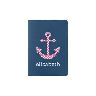 Ancla rosada linda del lunar con nombre del porta pasaporte