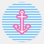 Ancla rosada náutica azul pegatina