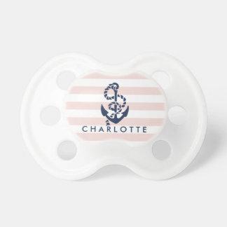 Ancla rosada náutica de la raya personalizada chupetes de bebé