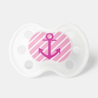 Ancla rosada y blanca náutica del fucsia de las ra chupetes de bebe