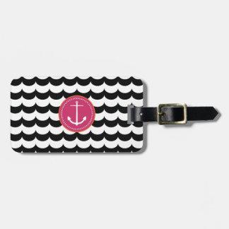 Ancla rosada y negra con el modelo de ondas etiquetas bolsa