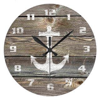 Ancla rústica de madera de mirada auténtica reloj redondo grande
