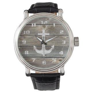 Ancla rústica de madera de mirada auténtica relojes de pulsera