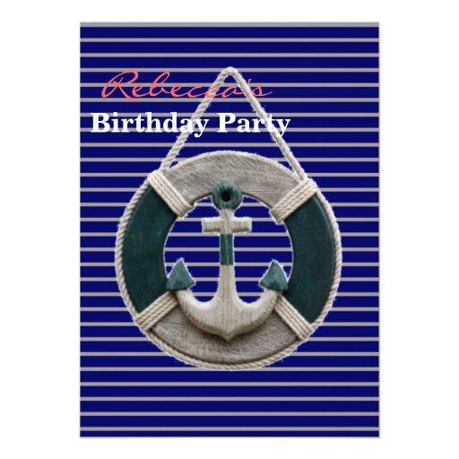 ancla rústica del barco de la Armada de la playa n Invitaciones Personales