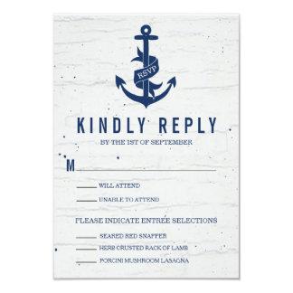 "Ancla rústica que casa la tarjeta/a la marina de invitación 3.5"" x 5"""