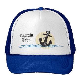 Ancla, Sun y capitán personalizado agua Gorras