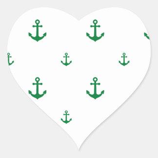 Ancla verde pegatina en forma de corazón