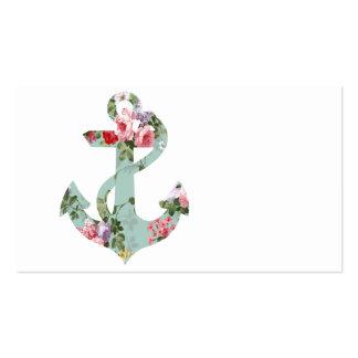 Ancla verde rosada roja del estampado de flores de tarjeta de negocio
