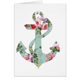Ancla verde rosada roja del estampado de flores de tarjeta de felicitación