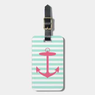 Ancla verde y rosada de la espuma del mar etiquetas de equipaje