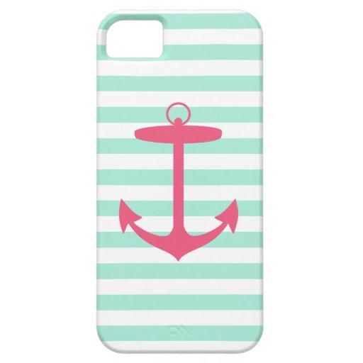 Ancla verde y rosada de la espuma del mar iPhone 5 funda