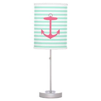 Ancla verde y rosada de la espuma del mar lámpara de mesilla de noche