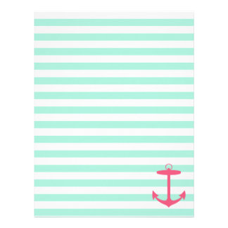 Ancla verde y rosada de la espuma del mar membrete a diseño